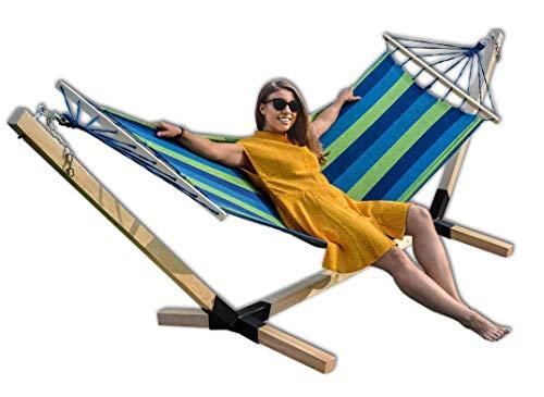 Megaastore Hängematte im Set mit Buchenholzgestell 320 cm | Bis zu 150kg | Outdoor Hängemattengestell Holz Gestell wetterfest, Stabhängematte (Blau)