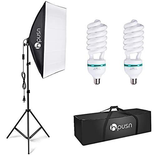 HPUSN Softbox Lighting Kit Photography Studio Light with 20-inch X 28-inch Reflector and 2pcs 85W 5500K E27 Bulb, Professional Photo Studio Equipment for Portrait Fashion Photography Video, etc.