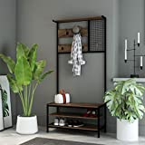 RAAMZO Nutmeg Brown Finish Black Frame Entryway Hall Tree Coat Hanger with Grid Wall 3-tier Shoe Rack Storage Bench with 5 Hooks - 72-Inch Tall