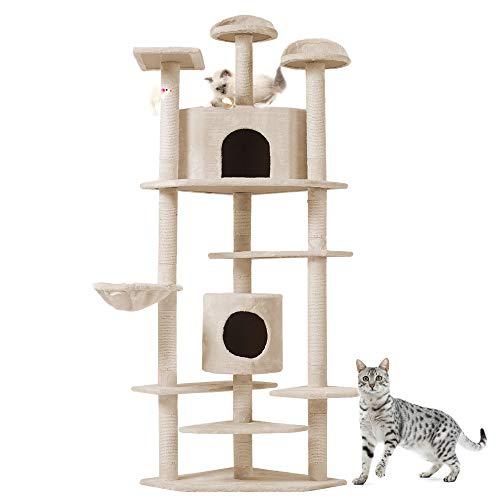 tiragraffi per gatti nicchia Albero per Gatto con Graffiatoio Cuccia Giocattolo Gatti Parco Giochi Tiragraffi in Sisal Naturale 203 x 60 x 60 cm (Colore Beige Rockefeller 30136)