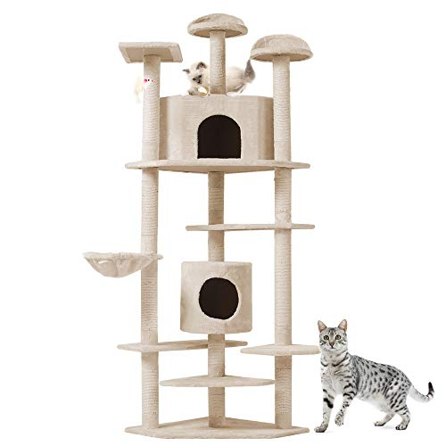 Albero per Gatto con Graffiatoio Cuccia Giocattolo Gatti Parco Giochi Tiragraffi in Sisal Naturale 203 x 60 x 60 cm (Colore Beige Rockefeller 30136)