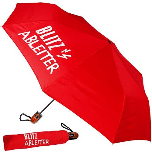 alles-meine.de GmbH Taschenschirm - AUTOMATIK -  Blitzableiter - rot  - ø 100 cm - großer Regenschirm / Kinderschirm / Erwachsenenschirm - Automatikregenschirm / Partnerschirm ..