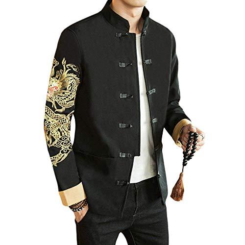 G-like Chinesische Tangzhuang Herren Jacke - Traditionell Retro Kostüm Mantel Lange Ärmel Stehkragen Drachen Peking Oper Masken Stickerei Schwarz Frühling Herbst Kleidung (Ärmel Drachen, S)