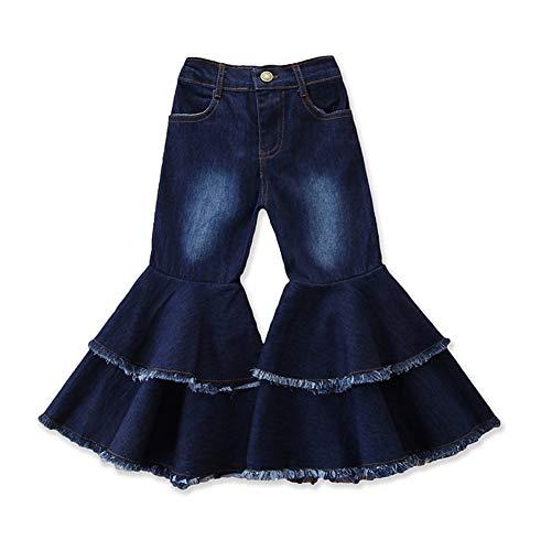 Sitmptol Toddler Bell Bottom Jeans Baby Girl Ruffle Ripped Jeans Pants Denim Leggings Trousers Flare Pant 2-3T Dark Blue