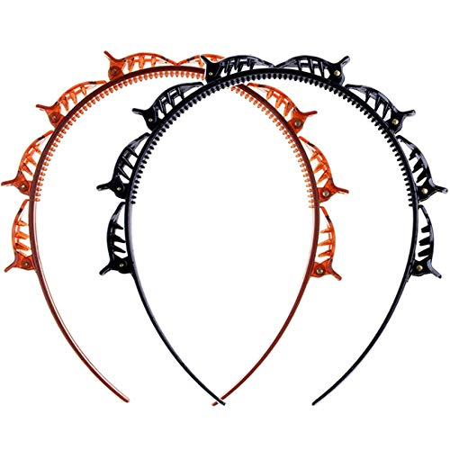 Rpanle 2 Stück Frisurenhilfe Haarreif mit Klammern, Doppelknall Frisur Haarnadel Doppelter Pony Twist Haarband Clips, Stirnband Haarhalter, Haarbänder für Frauen (Braun, Schwarz)