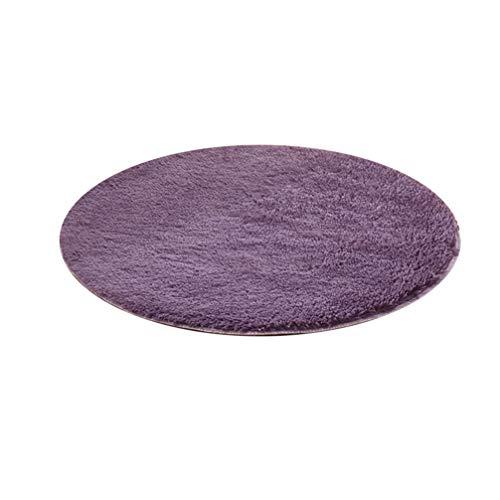 Wakauto Runder Bodenteppich Polyester Weicher Plüschteppich für Spielhaus Wohnzimmer Schlafzimmer Kinder Kinderzimmer Dekoration (Dunkelviolett)
