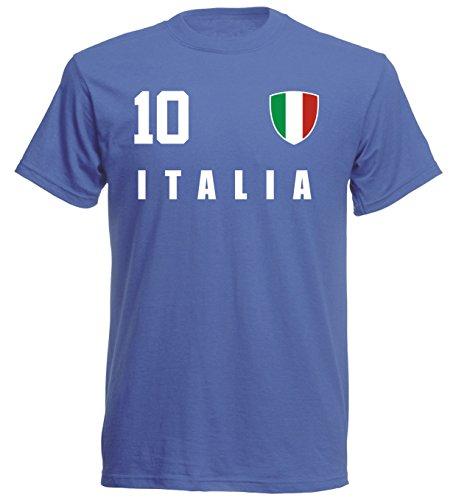 Italien WM 2018 T-Shirt Trikot Style - Blau ALL-10 - S M L XL XXL (XL)