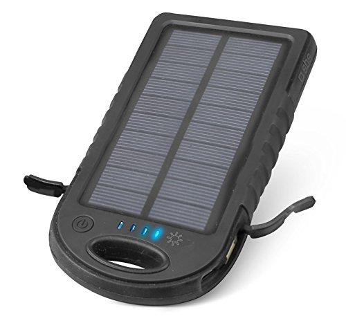 SBS Mobile TTBS5000WPK - Portable Battery Backup 5000mAh con Panel Solar con 2x USB Salida 2.1A, Waterproof para Smartphone/Tablet