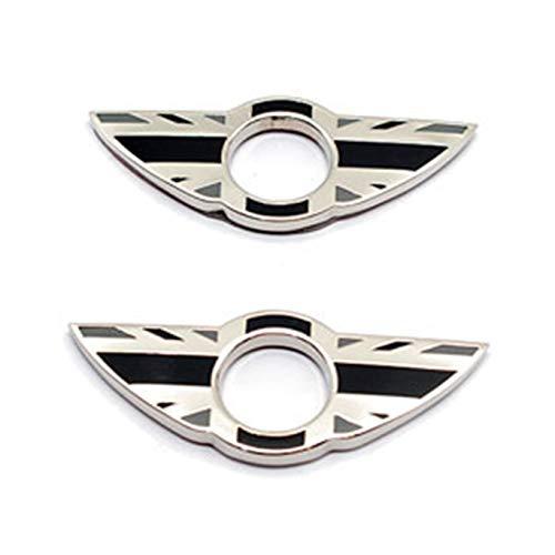 2 piezas de anillos de emblema de ala para cerradura de puerta, pomos de bloqueo de puerta, pegatinas compatibles con Mini Cooper R56 Hatchback R57 Covertible R58 Coupe R59 Roadster (Union Jack gris)