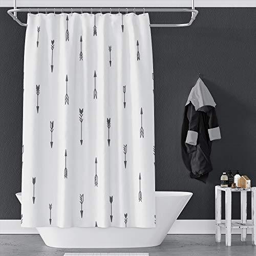 OERJU Duschvorhang-Set mit Pfeilen, weißer Hintergr&, lässiger Stil, maschinenwaschbar, mit Haken, 183 x 183 cm, wasserdichtes Polyester
