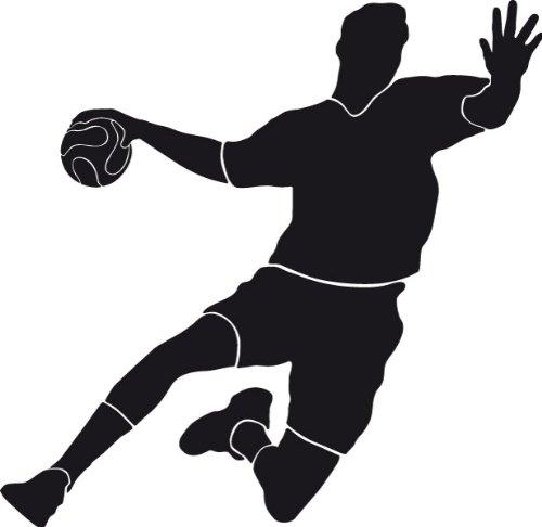 PrimeStick Wandtattoo Wandaufkleber Handballer Torschuss #120B schwarz 92cm x 90cm (RAL9005)