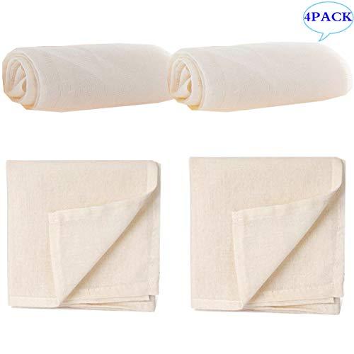 Liuer 4PCS Garza Alimentare,Mussola Cucina,Telo filtrante Panno di Formaggio Garza Tessuto per Formaggio in Cottone Filtro per Cucina Latte di Mandorle Tofu Yogurt(50x50CM ;90x90CM)