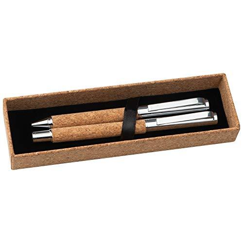 NOMA NOMA Kugelschreiber Set, Nachhaltiges Schreibset aus Kork, Drehkugelschreiber und Rollerball in einer Aufbewahrungsbox