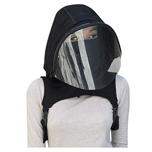 Gesichtsschild 360 ° Kopfschutz Visier Sicherheit Gesichtsschutz Face Cover mit Hut | Gesichtsschutz | Visier aus Kunststoff | Schutzschild | Mundschutz Augenschutz Gesichtsschutzschirm (Schwarz)