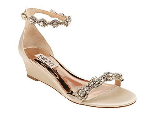 Badgley Mischka womens Ankle Strap Wedge Sandal, Ivory, 11 US