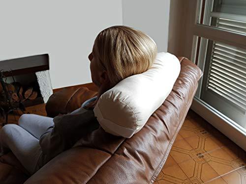 TOMBOLINO -Beige- Cuscino Cilindrico per il Collo da Viaggio Divano Yoga Meditazione, Poggiatesta a Rotolo, Supporto a Rullo per Nuca, Sostegno Cervicale in Pula di Farro