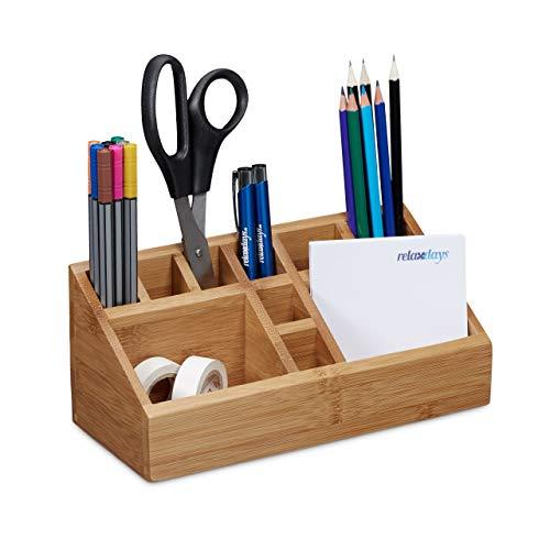 Relaxdays Schreibtischorganizer Bambus, Stifteköcher, 10 Fächer, natürliche Maserung, HxBxT: 10 x 23 x 10 cm, natur