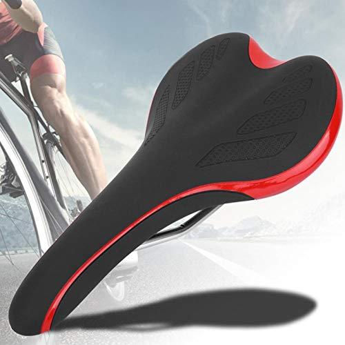 SALUTUYA con Cuero de PU, se Siente cómodo Asiento de sillín de Bicicleta Fácil de Instalar Antigolpes, para Bicicleta de montaña(Black Red)