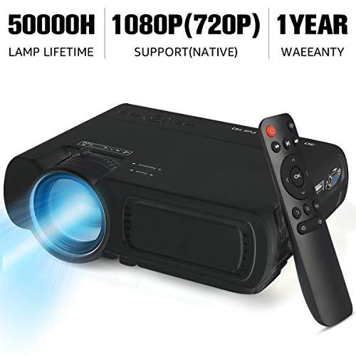 Elephas - Proyector portátil de 4000 lúmenes, lámpara con duración de 50.000 horas, proyector de vídeo LED, soporta vídeo 1080P, compatible con entradas USB/HD/SD/AV/VGA para cine en casa