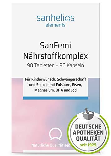 """Sanhelios SanFemi – """"Folsäure, Omega 3 plus Nährstoffkomplex"""" – zur optimalen Versorgung für Frauen mit Kinderwunsch, Schwangere und Stillende – mit Eisen, Jod + 12 Vitamine + DHA/EPA - für 3 Monate!"""