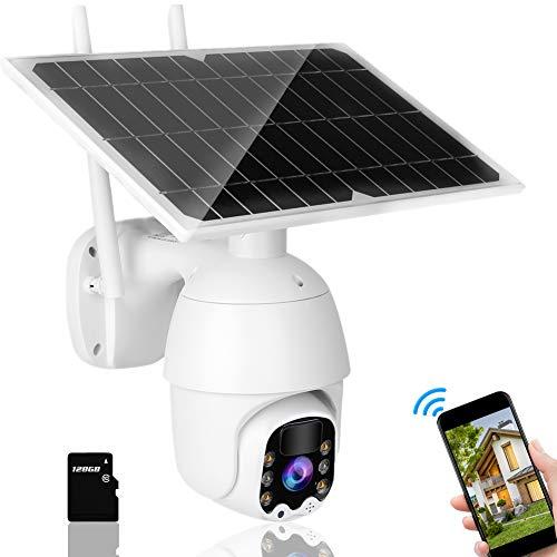 Cámara Solar 1080P, cámara CCTV 4G PTZ, cámara de Seguridad a Todo Color Resistente a la Intemperie, con visión Nocturna por Infrarrojos y detección de Movimiento PIR, Audio de Dos vías(EU)