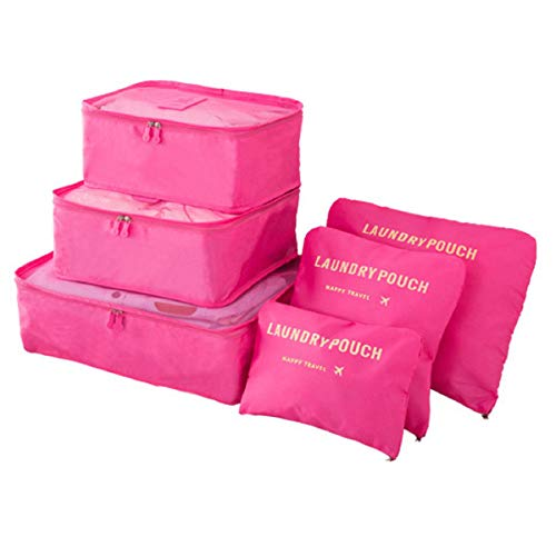 Portable Packing Cubes, TCHEER 6PCS Travel Luggage Organizers Lightweight Storage Zip Bags for Suitcase (Rose Red)