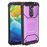 Z-GEN - for LG Stylo 5 (2019), Stylo 5X, Stylo5+ Plus, LM-Q720, LM-L722DL - Aluminum Metal Hybrid Phone Case + Tempered Glass Screen Protector - ZY1 Purple
