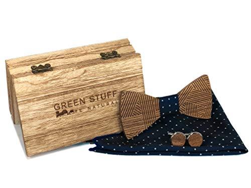 GREEN STUFF Johan - Das Öko Holzfliegenset - handgefertigt aus Walnussholz mit passenden Manschettenknöpfe und Einstecktuch  1 VERKAUFTES PRODUKT = 1 GEPFLANZTER BAUM  ([Blau Weiß gepunktet])