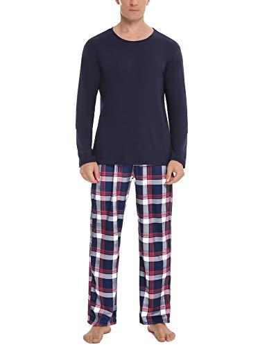 Aibrou Herren Schlafanzug Zweiteiliger Lang Pyjama Set, Nachtwäsche Hausanzug Freizeitanzug Langarm Shirt und Pyjamahose Weich Aus Baumwolle