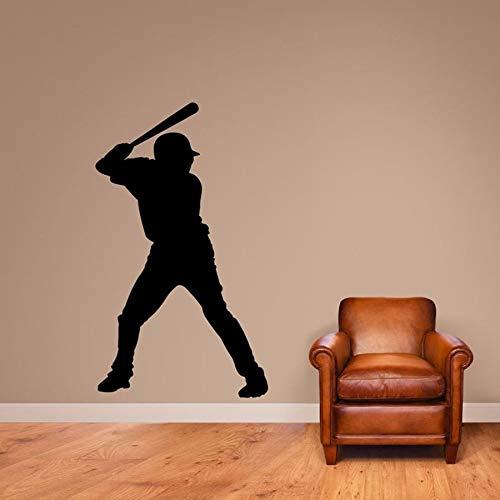 Calcomanía de pared de bateador de béisbol para habitación de niños, pegatina de arte deportivo, Bar deportivo, decoración de pared, pegatina de dormitorio, Mural A6 72x42cm