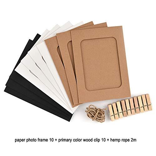 Hangpapier fotolijst,3 Kleuren Karton, met Mini Houten Clips, 2 m Twine, past 4x6,DIY Craft Wandkamer Decoratie A