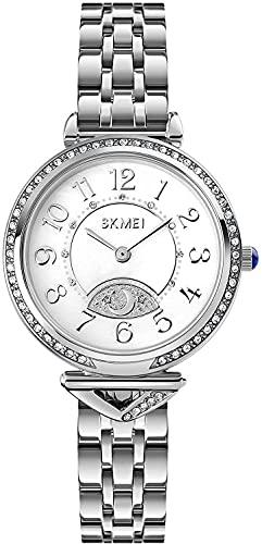 Rhinestone de Lujo Mujeres Relojes de Acero Inoxidable Ladies Reloj de Cuarzo Star Moon Girl'S Reloj Reloj Reloj de Pulsera Femenino (Color: Oro) (Color : Silver)