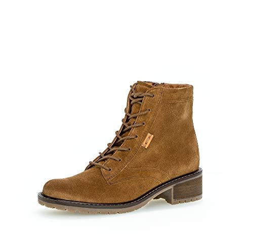 Gabor Damen Stiefeletten, Frauen Schnürstiefelette,Comfort-Mehrweite,Reißverschluss, Boots Stiefel Bootee Booties,Cognac (Micro),40.5 EU / 7 UK
