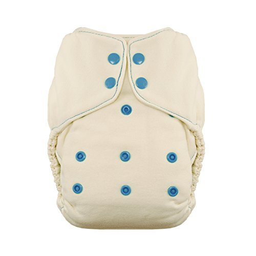 Image of Thirsties Snap Natural One Size Bamboo Fitted Cloth Diaper, Ocean Blue