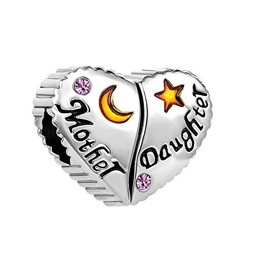 MiniJewelry Mother Daughter Love Heart Charm for Bracelets fit Pandora Charms Bracelets June Birthday Crystal Birthstones, Light Purple