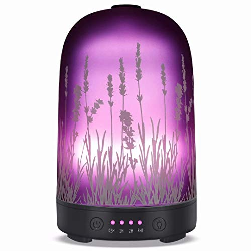 Lavender-Aroma-Essential-Oil-Diffuser-250ml-Aromatherapy-Ultrasonic-Cool-Mist-Whisper-Quiet-Humidifier-Waterless-Auto-Shut-Off-and-7-Color-Changed-LED-for-Home-Office-Yoga-SPA