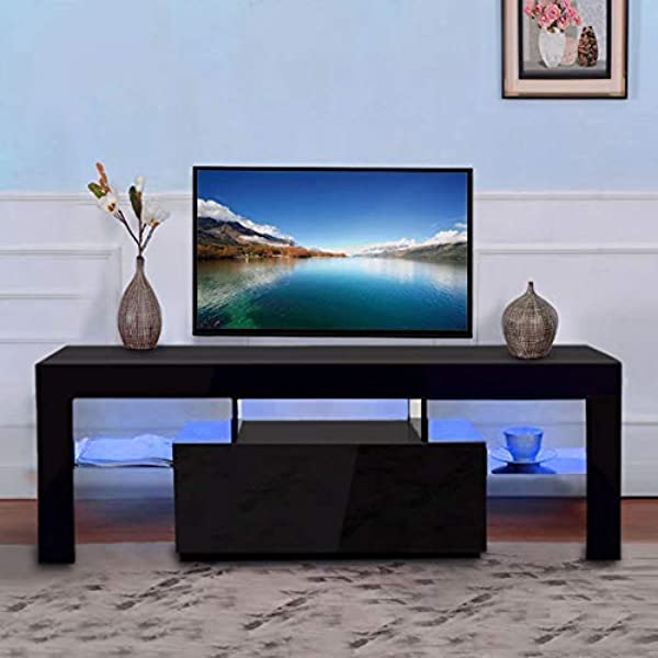 SSLine Modern TV Stand Television Stands Home Living Room Decorative Entertainment Center With LED Light And Drawer For Up To 52 Inch TV Screens Black