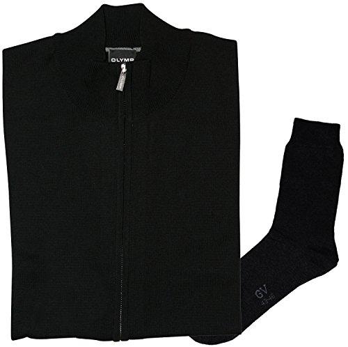 OLYMP Strick Cardigan Strickjacke Zipper-Jacke - Merinowolle, schwarz + 1 Paar hochwertige Socken, Bundle