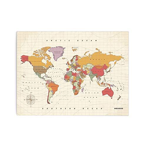 Miss Wood Tropical L, Mapa del Mundo en Corcho, 45x60cm, L (45 x 60 cm)