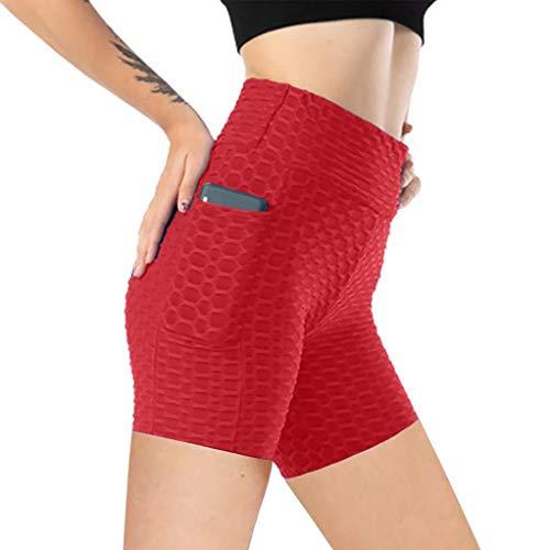 Pantalones Cortos Deportivos con Bolsillos Shorts Casual Jacquard Color Sólido Leggins Push Up de Cintura Alta Mallas de Deporte Ideal para Yoga y Pilates Pantalón Transpirables Elásticos