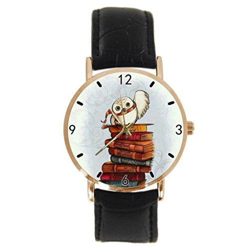 Owl Hedwig Custom Design Stylish Sports Leather Gold Watch Men and Women - The Best Gift