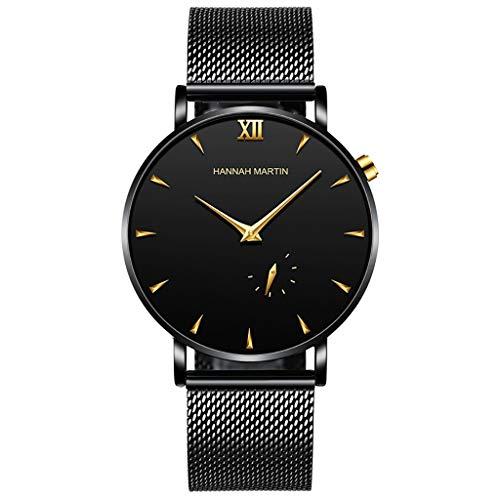 UINGKID Herren Uhr analog Quarz Armbanduhr wasserdicht Uhren Mode Monocula Classic Edelstahlgewebe Gürtel Uhr