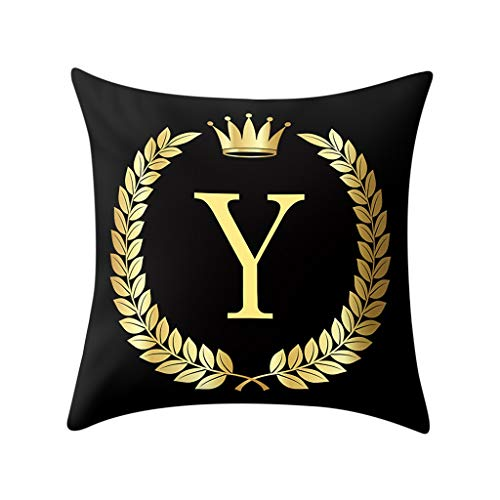 Xmiral Kissenhüllen Bettkissenbezug Polyester Golden Buchstabe Drucken Schwarz Zierkissenbezüge 45x45 cm Einfach Quadratischer(Y)