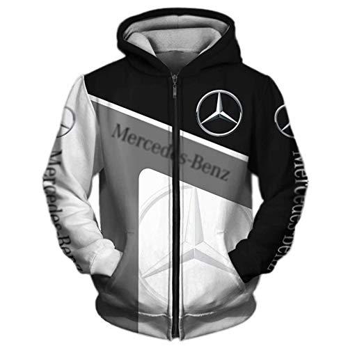 Daoxizhou Jacke Hoodies, 3D Full Print Mercedes-Benz Herren Leicht Sweatshirt Unisex Outdoor Casual Top Hoodies Jacke T-Shirt Reißverschluss Sweatshirt Fan Jersey Lose, 03,XXXXL