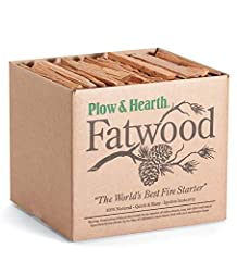 """QUICK & EASY FIRE STARTING - Just two sticks start a roaring fire; ignites instantly and burns at a high heat CONVENIENT - Fatwood kindling sticks are pre-split in handy 8""""L pieces; neatly boxed for hearth and gifting 100% ALL-NATURAL - Rich in organ..."""