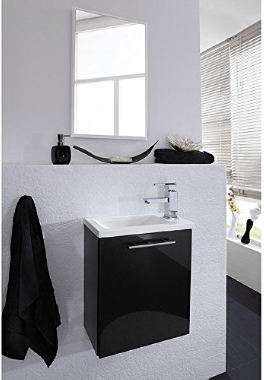 Lomado Waschplatz Set mit Spiegel in wei ● Waschtischunterschrank in Hochglanz anthrazit ● Edelstahl Griffe, Mineralguss Waschtisch ● Gste WC Bad Made in Germany
