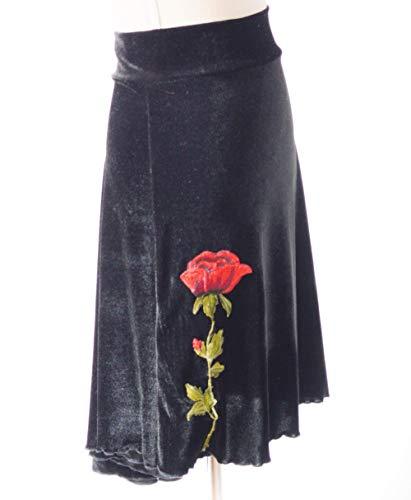 Hermosa falda de tango con bordado de rosa de terciopelo negro en cascada | Ropa de tango | Ropa de tango argentino - Bailes de salón | Falda de milonga Elige tu talla