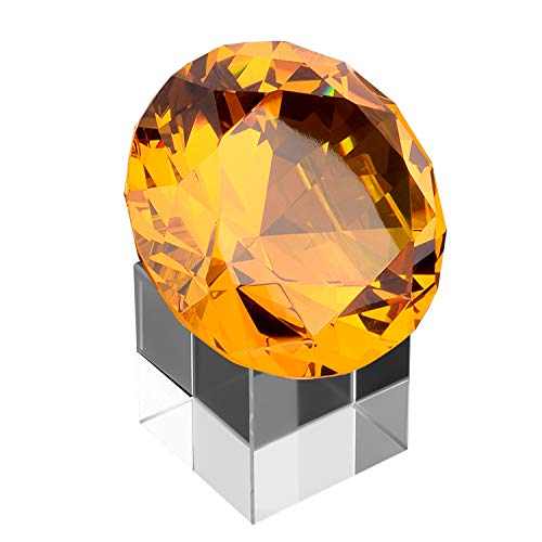 MerryNine Top K9 クリアクリスタルダイヤモンド ペーパーウェイト 装飾 結婚式 店舗 自宅 オフィス バーなどに 恋人 家族 友人などに 最高の贈り物 80 ブラウン