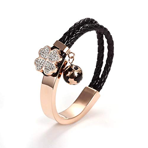 Wistic Jewelry - Pulsera de mujer de cuero y acero inoxidable enchapado en oro con cristales negro