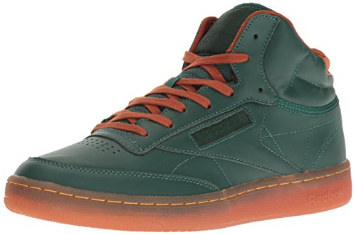 Reebok Men's Club C MID Cord Fashion Sneaker, Flannel Green/Ginger/Paper White/RBK Brass-Gum, 10.5 M US